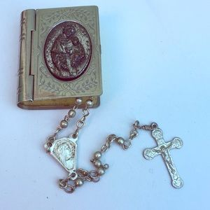 Jewelry - Vintage silver rosary and bible box